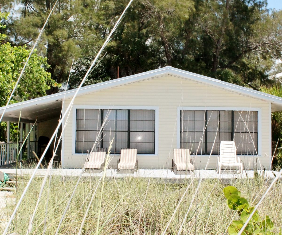 Beachfront cottage on Little Gasparilla Island.